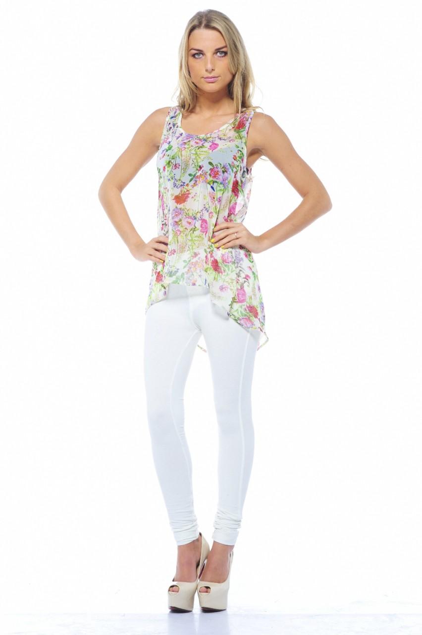 AX Paris Women's Tiny Flower Print Sheer Top - Online Exclusive PartNumber: 3ZZVA65997112P MfgPartNumber: TW223EFCREAM-10-B30