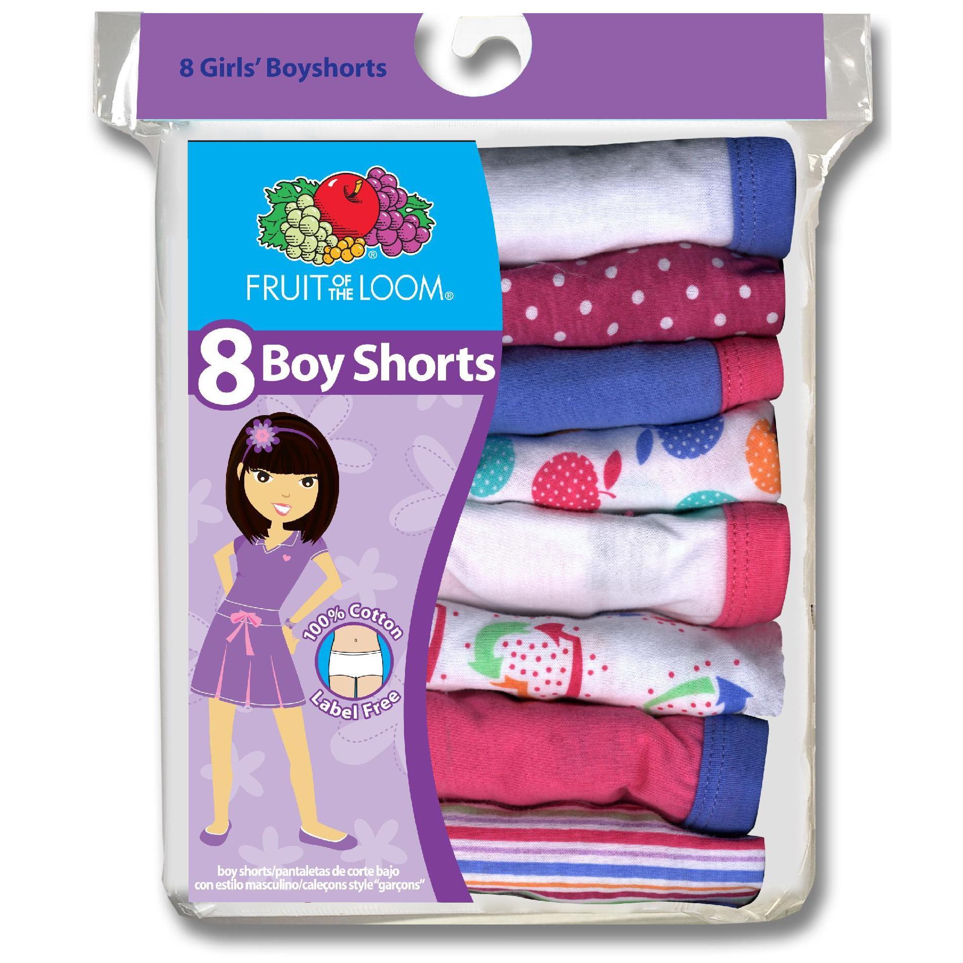 Girls' 8 Pack Multicolored Boyshorts