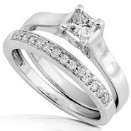 Diamond-Me Diamond Wedding Set 1/2 Carat (ct.tw) in 14K White Gold at Sears.com