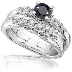 Diamond-Me Black and White Diamond Wedding Set 1 1/4 carat (ct.tw) in 14k White Gold at Kmart.com