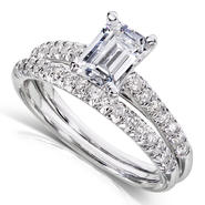 Diamond-Me Emerald Cut Diamond Bridal Set 1 1/3 Carat (ct.tw) in 14K White Gold at Sears.com