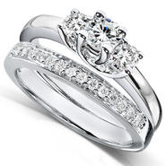 Diamond-Me Diamond Wedding Set 5/8 carat (ct.tw) in 14K White Gold at Kmart.com