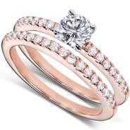Diamond-Me Round Brilliant Diamond Wedding Ring Set 3/4 Carat (ct.tw) in 14k Rose Gold at Sears.com