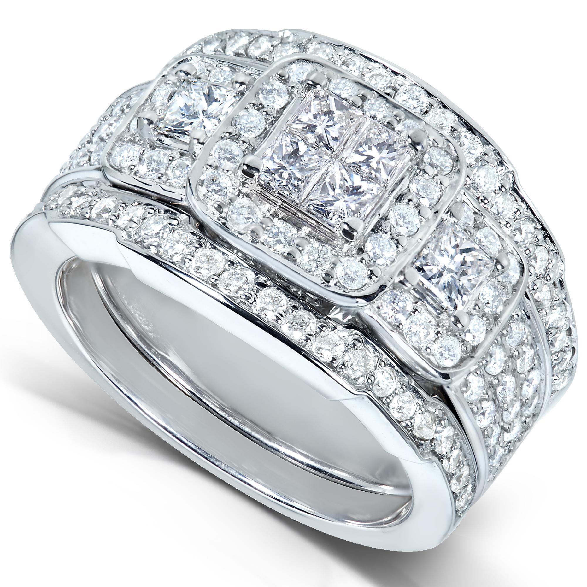 Diamond Me Princess Diamond Wedding Rings Set 1 1 3 Carat Cttw In 14k White Gold 3 Piece Set