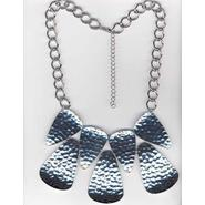 Studio S Women's Hammered Bib Necklace - Silvertone at Sears.com