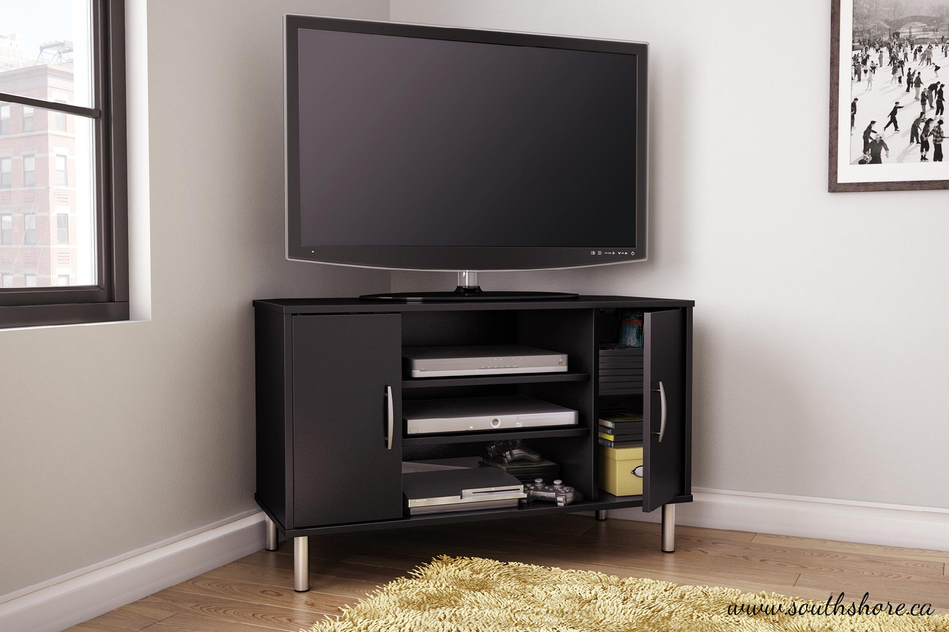 Renta Corner Tv Stand In Pure Black Home Furniture Game Room