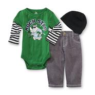 Small Wonders Infant Boy's Long-Sleeve Bodysuit, Jeans & Beanie - Rock Star at Kmart.com