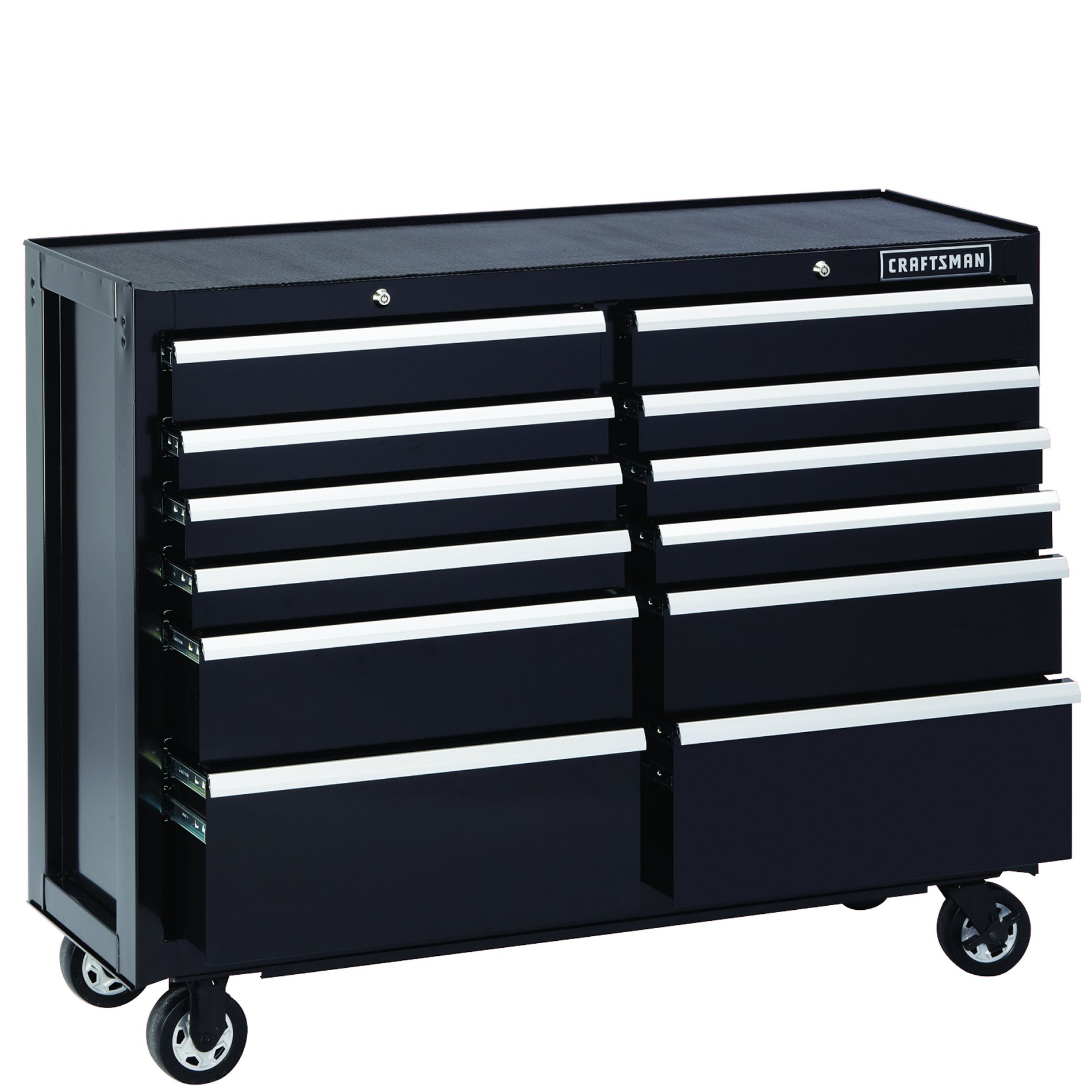 Craftsman 52-Inch 12-Drawer Premium Heavy-Duty Rolling Cabinet- Black