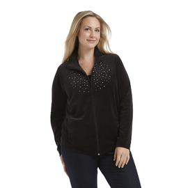 Basic Editions Women's Plus Embellished Mock Neck Jacket at Kmart.com