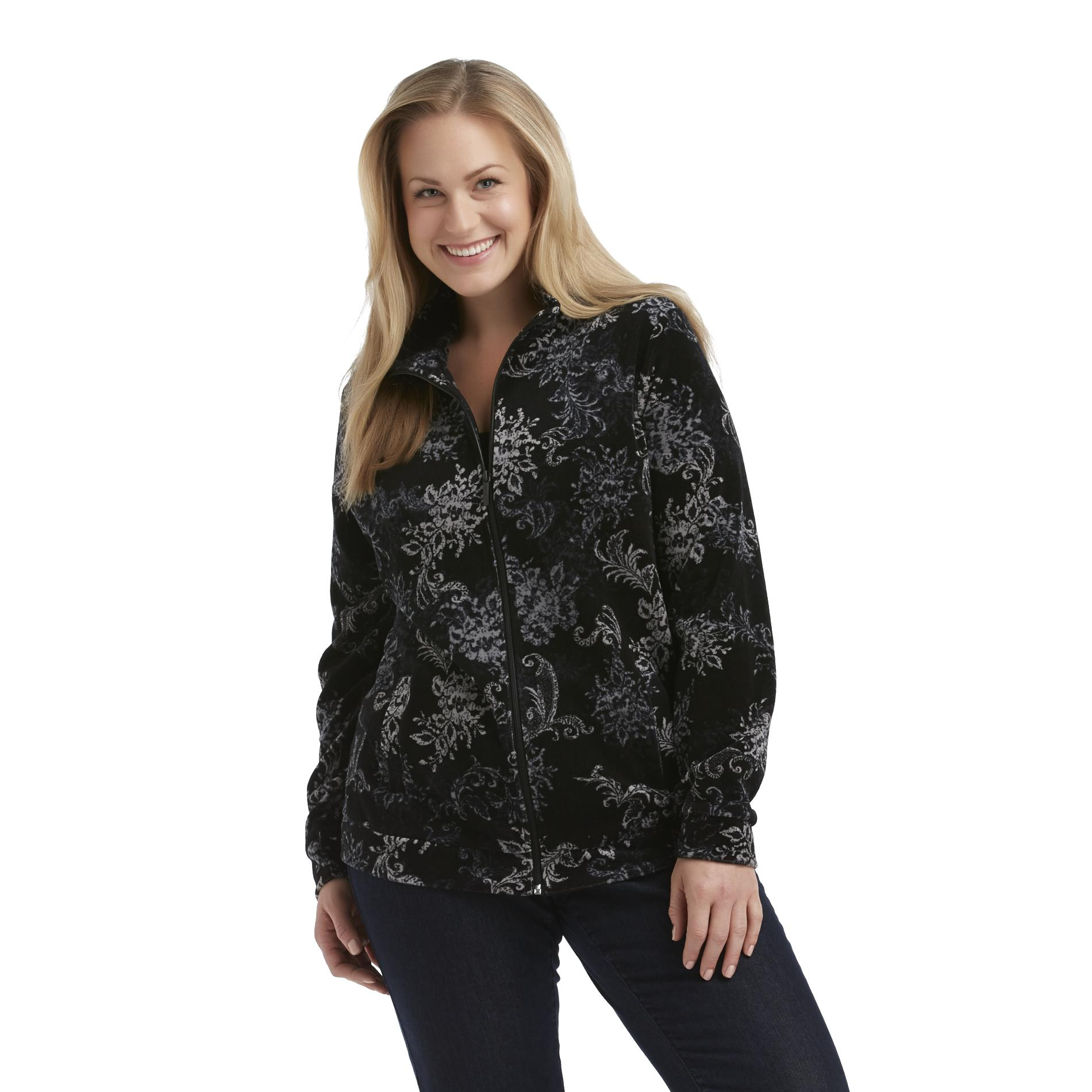 Basic Editions Women's Plus Mock Neck Jacket - Floral Print at Kmart.com