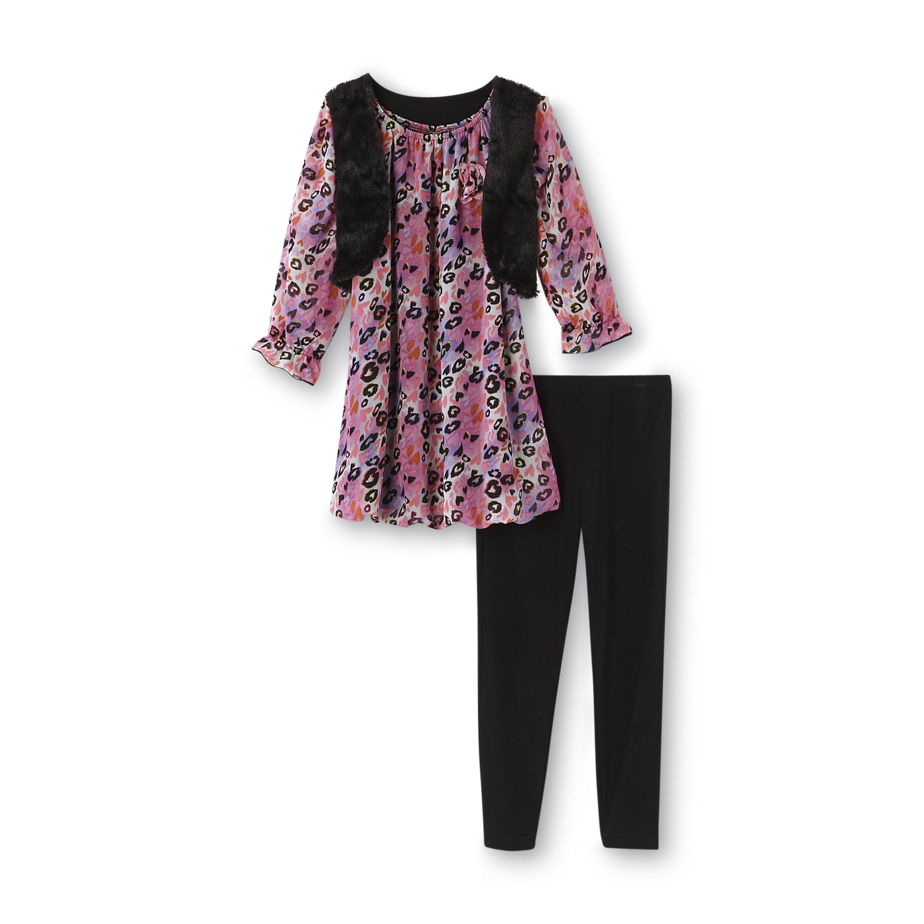 Piper Girl's Tunic Top, Leggings & Faux