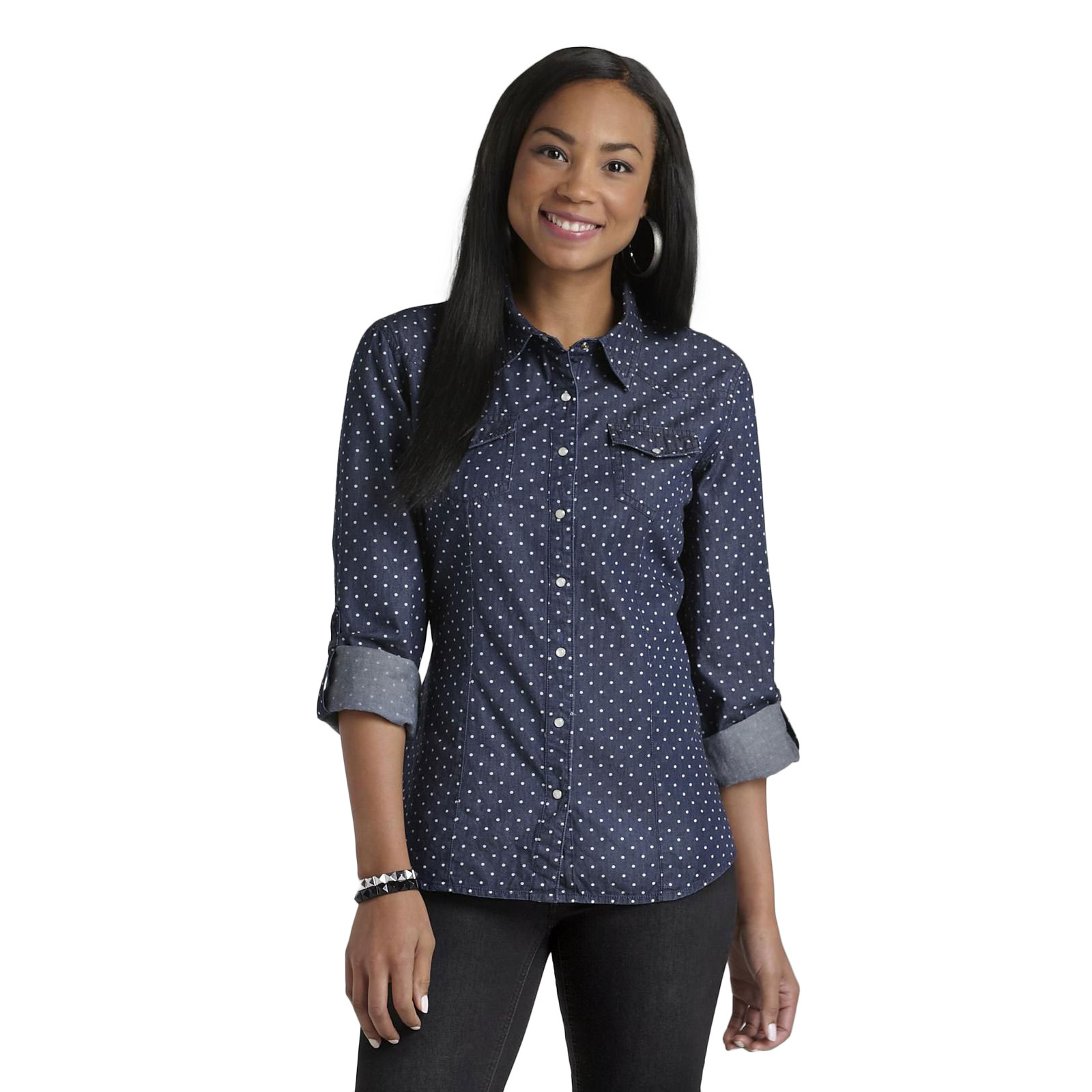 Women's Chambray Camp Shirt - Polka Dot