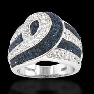 Shades Of Elegenace Platinum Over Bronze Blue Crystal High Swirl Ring at Kmart.com