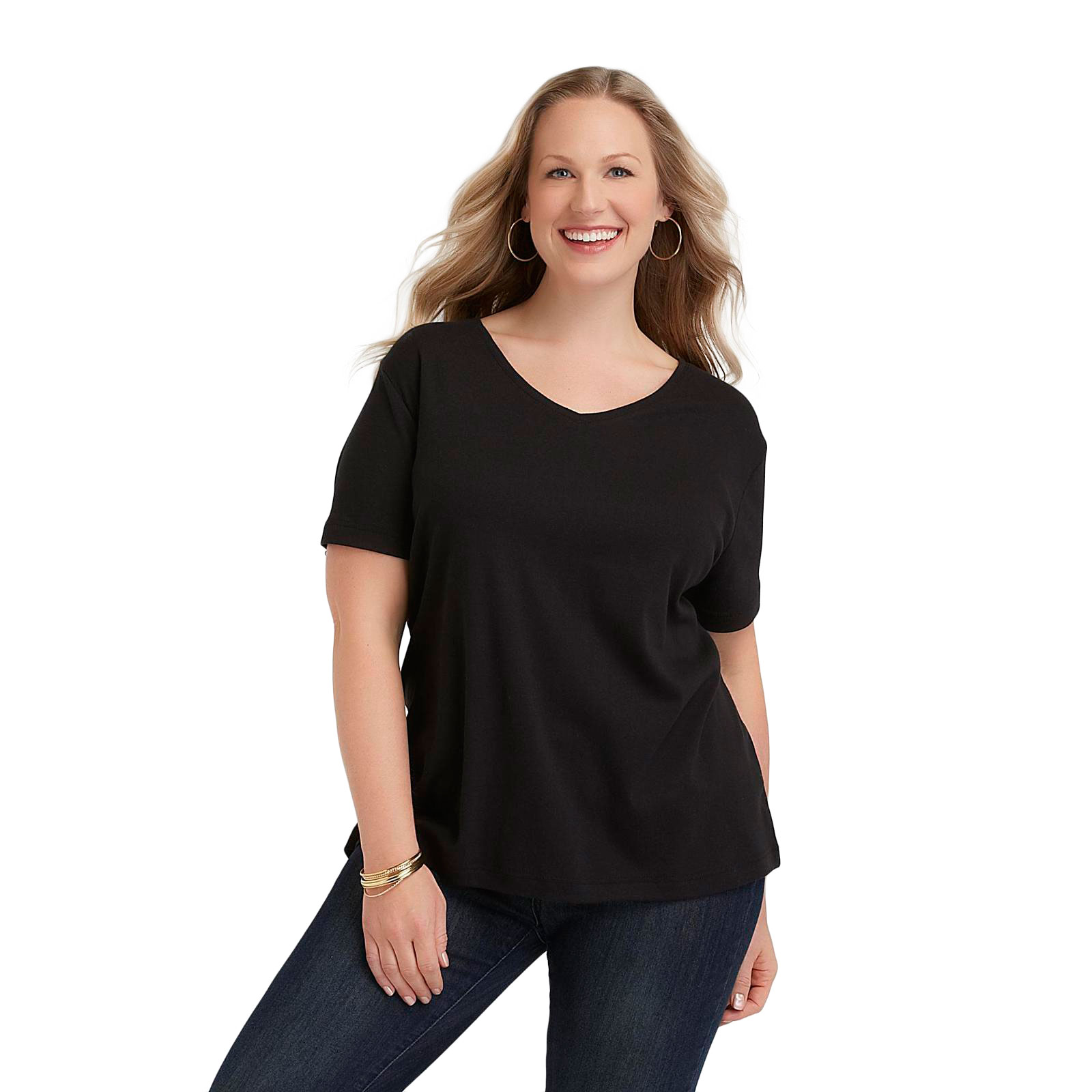 Laura scott women 39 s plus v neck t shirt shop your way for V neck t shirt online shopping
