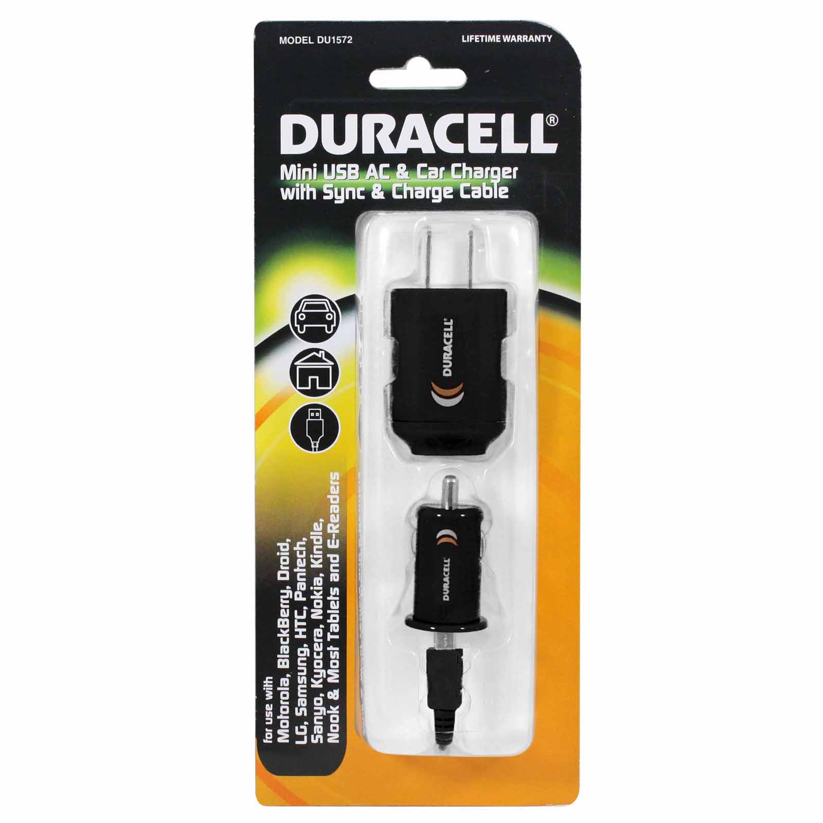 Duracell Mini USB AC & Car Charger with Sync & Charge Cable DU1572