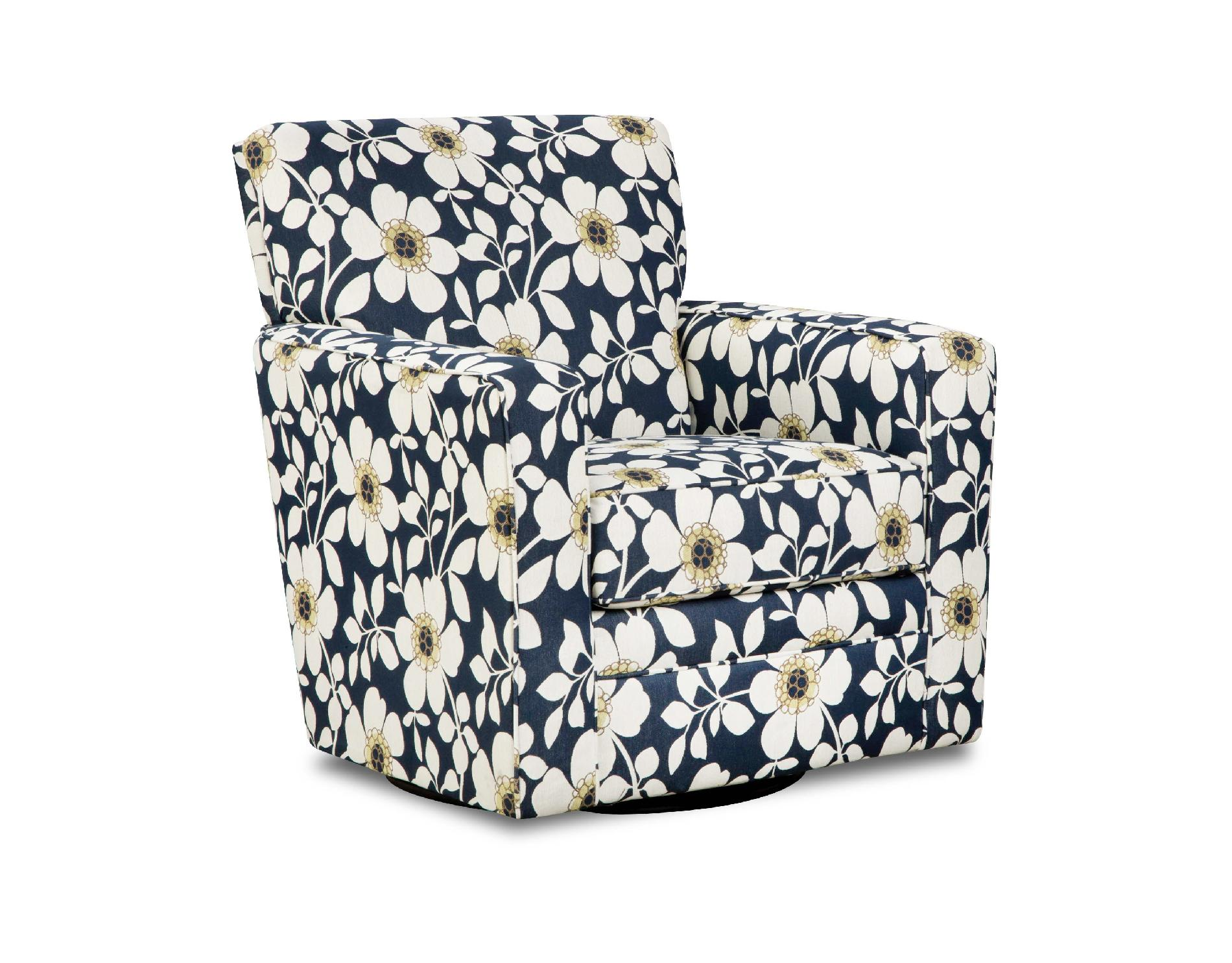 Simmons Upholstery Floral Print Chicklet Upholstered Swivel Chair Shop Living Room Furniture
