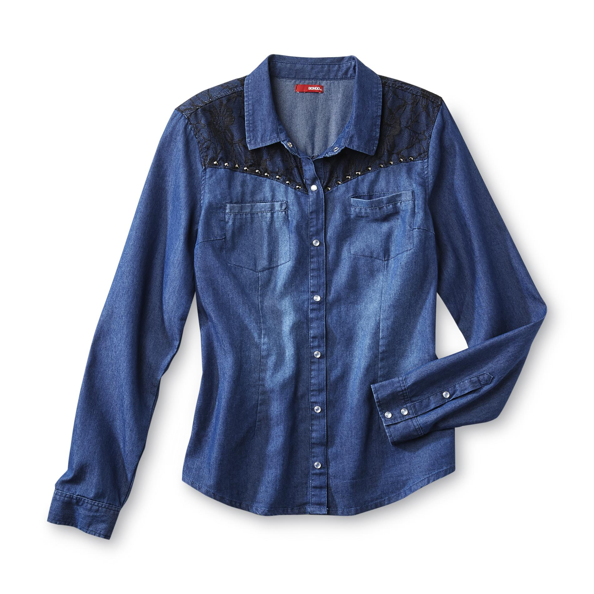Junior's Denim Shirt - Lace