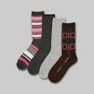 Studio S Women's 4-Pack Knit Crew Socks - Striped at Sears.com