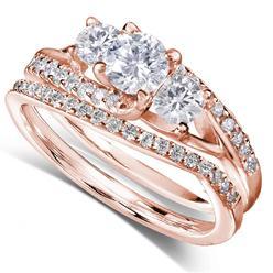 Diamond-Me Round Diamond Bridal Set Ring 1 1/10 Carat (ct.tw) in 14k Rose Gold at Kmart.com