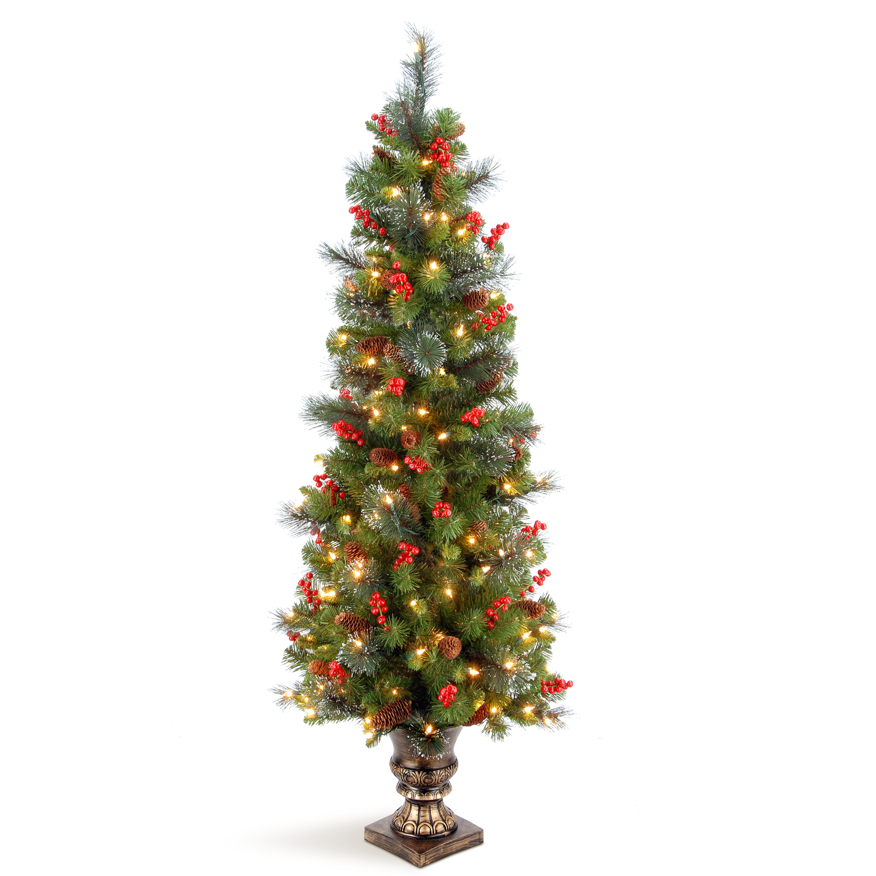 National Tree Company 5 ft. Crestwood Spruce Entrance Tree with Clear Lights