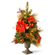 "National Tree Company 3' Decorative Collection Home Spun Entrance Red/Gold Tree in a 9"" Plastic Pot with 35 Clear Lights at Kmart.com"
