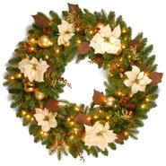 "National Tree Company 36"" Decorative Collection Inspired by Nature Wreath with Clear Lights at Kmart.com"