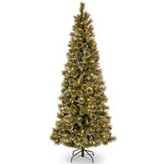 7.5 ft. Glittery Bristle Slim Pine Tree with Clear Lights at Kmart.com