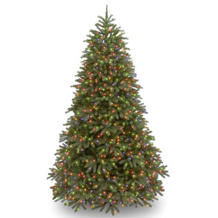 National Tree Company 7.5 ft. FEEL-REAL® Jersey Fraser Fir Medium Tree with Multicolor Lights