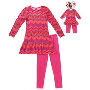 What A Doll Girl's Tunic, Leggings & Doll Outfit - Chevron Striped at Kmart.com
