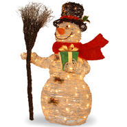 "National Tree Company Pre-Lit 35"" White Rattan Snowman at Sears.com"