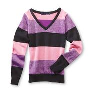 Basic Editions Girl's V-Neck Cotton Sweater - Metallic Stripes at Kmart.com