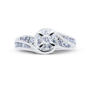 1/2 Cttw. Round Sterling Silver Diamond Engagement Ring
