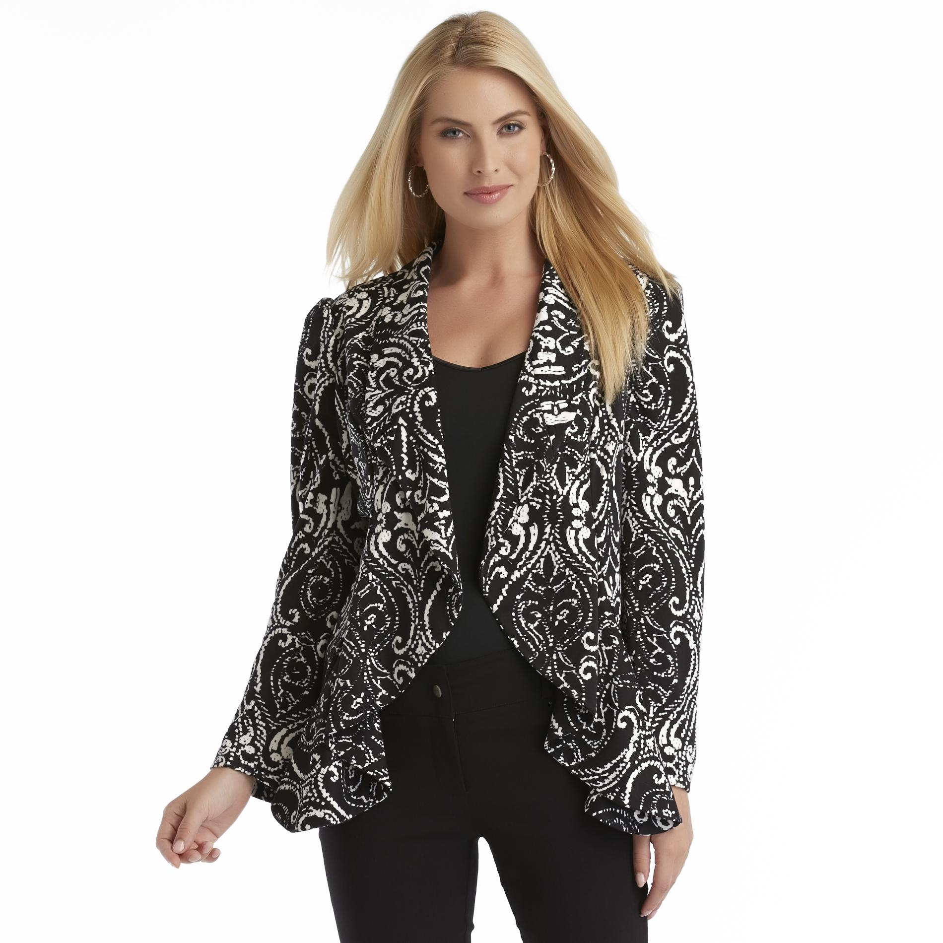 Covington Women's Open-Front Knit Jacket - Scrollwork Print at Sears.com