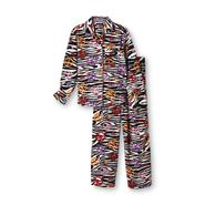 Joe Boxer Girl's Fleece Pajama Set - Animal Print & Peace at Kmart.com