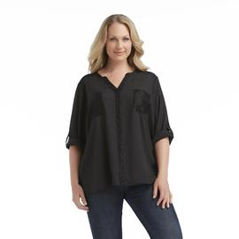 Jaclyn Smith Women's Plus Georgette Blouse - Lace Trim at Kmart.com