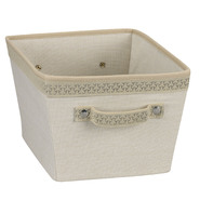 Household Essentials Medium Tapered Bin Plastic/Cotton Ivory-Straw with Sonic Trim Link at Kmart.com
