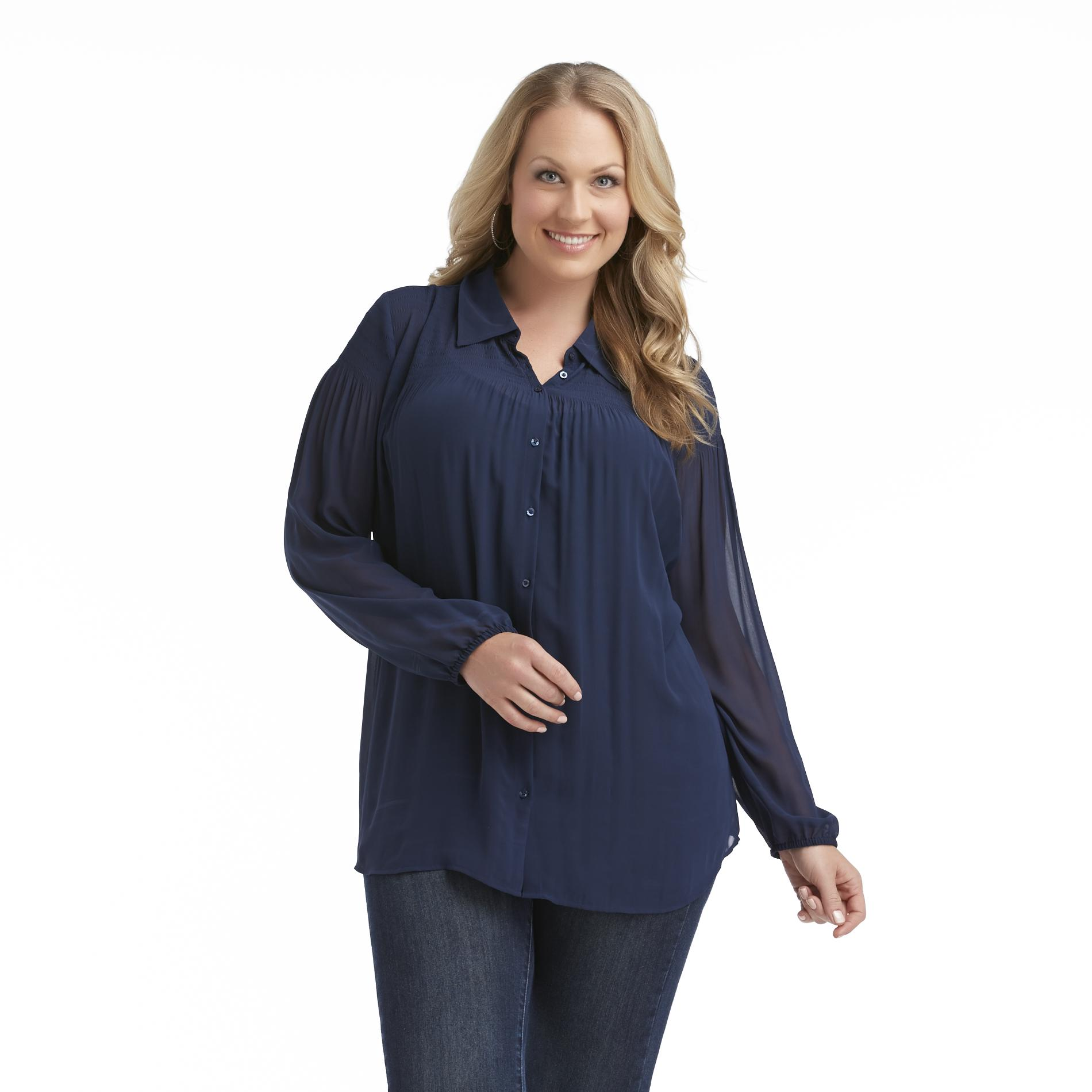 Love Your Style, Love Your Size Women's Plus Smocked Chiffon Blouse at Kmart.com