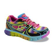 Skechers Girl's Knockout Black/Multi Athletic Sneaker at Sears.com