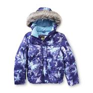 Athletech Girl's Hooded Puffer Jacket - Abstract Floral at Kmart.com