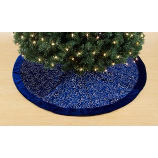 Trim A Home® Trim A Home® Blue Velvet with Silver Glitter Tree Skirt, 50 in