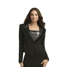 Kardashian Kollection Women's Ponte Blazer - Faux Leather Trim at Sears.com