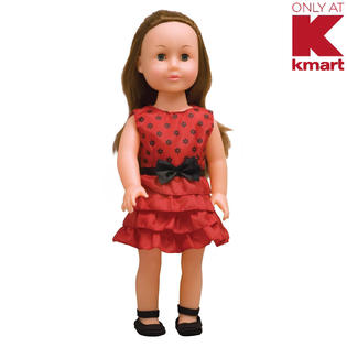 Just Kidz 18 in. Good Kids Doll - Brunette with Red Dress