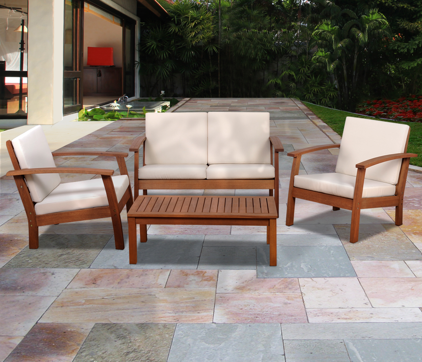 Amazonia Andorra 4 Piece Eucalyptus Deep Patio Seating Set
