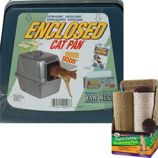-Van Ness Enclosed Cat Litter Pan (Large) & Scratcher Bundle