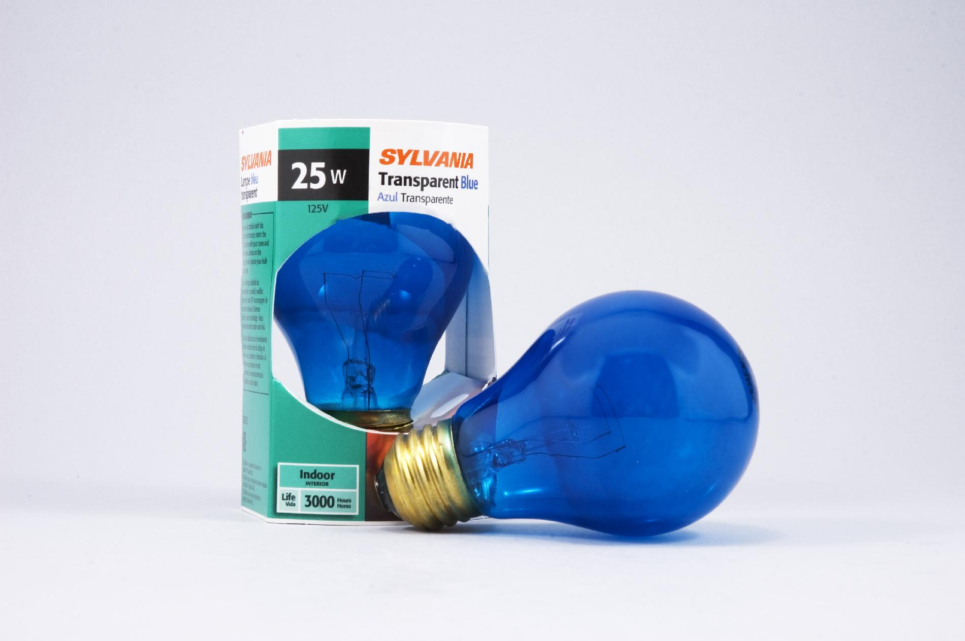 034077609000 Sylvania Incandescent Clear Blue Lamp A19-Medium Base 1