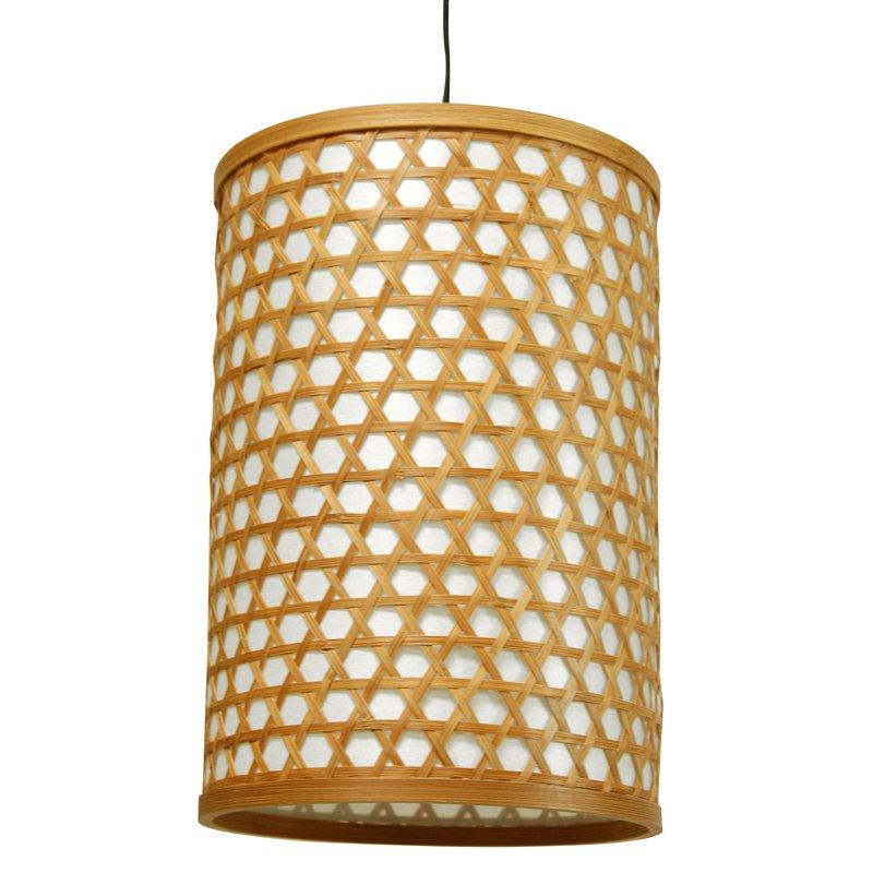 "Oriental Furniture 12"" Desu Japanese Lattice Hanging Lantern, Beige & Tan"