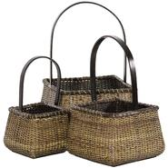 Oriental Furniture Rattan Square Handle Basket (Set of 3) at Kmart.com