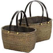 Oriental Furniture Rattan Open Storage Basket with Handles (Set of 2) at Kmart.com