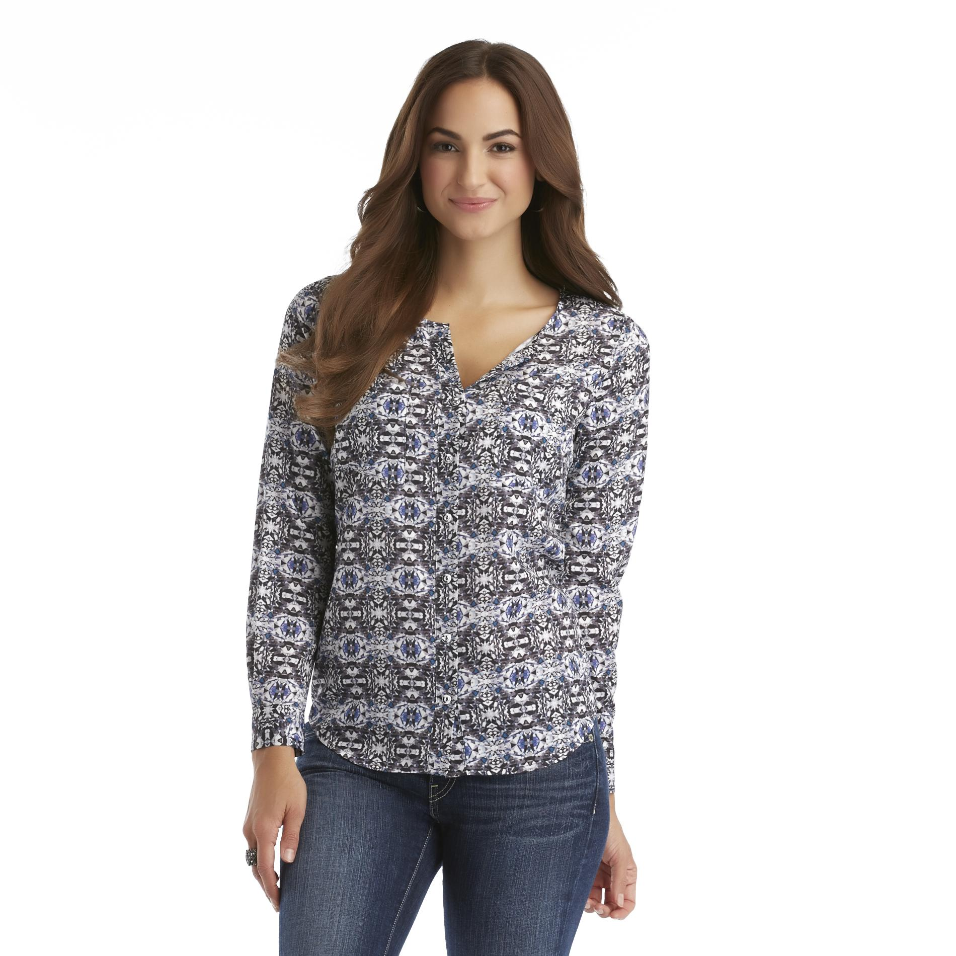 Attention  Women's Split-Neck Blouse -