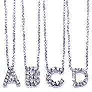 Diamond-Me Diamond Accent Mini Initial Letter Necklace 1/10ct (ct.tw) in 14K White Gold at Sears.com